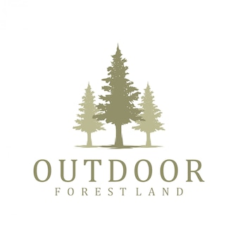 Pinheiros spruce cedro natureza evergreen ambiente vintage simples logotipo design