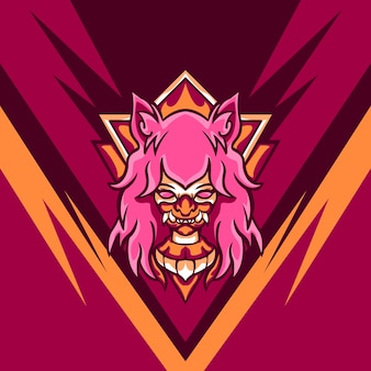 Pink devil player para mascote de jogos
