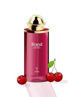 Pink perfume cosmetics package vector realista maquete acima