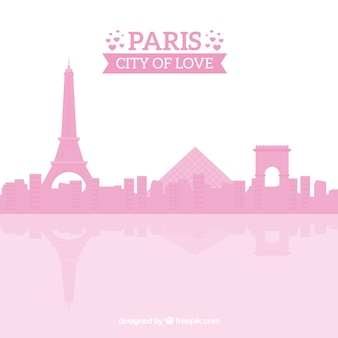 Pink skyline of paris
