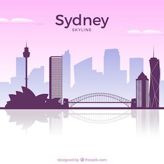 Pink skyline of sydney