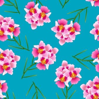 Pink vanda miss joaquim orchid em fundo azul índigo