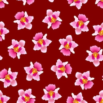 Pink vanda miss joaquim orchid em fundo vermelho