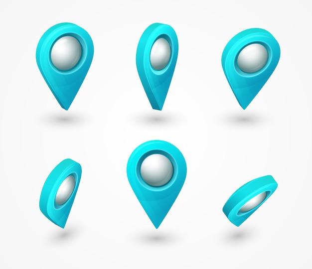 Pino 3d do ponteiro do mapa azul com bolha de vidro brilhante conjunto de vetores de símbolos de localização isolado