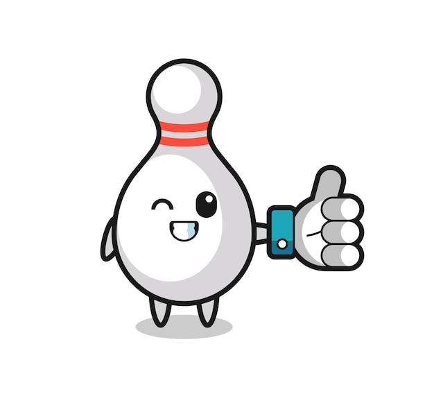 Pino de boliche fofo com símbolo de polegar para cima de mídia social, design de estilo fofo para camiseta, adesivo, elemento de logotipo
