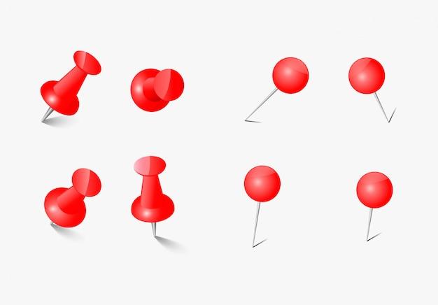 Pino de escritório conjunto pino de desenho botão vetor pino vermelho