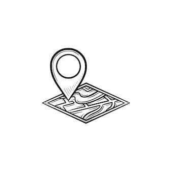 Pino de localização de casa no ícone de doodle de contorno desenhado de mão do mapa. imobiliário, navegação, propriedade, conceito de localização