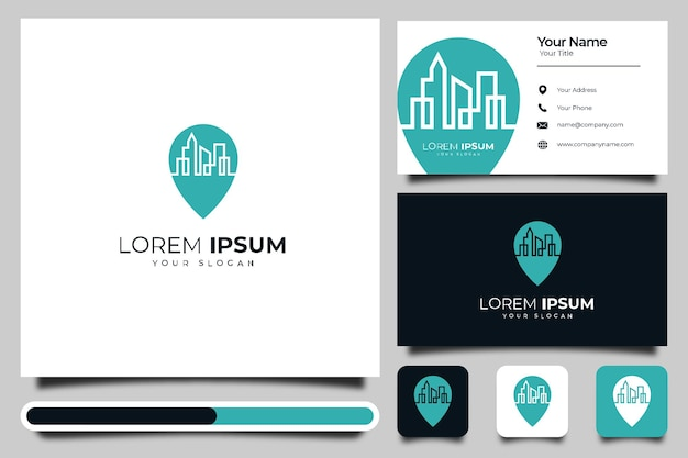Pino de mapa com design criativo de logotipo de construção de cidade e modelo de cartão de visita
