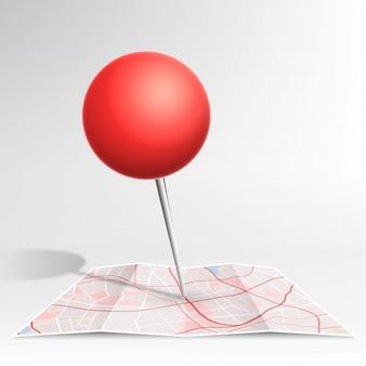 Pino de mapa cor vermelha caindo no mapa