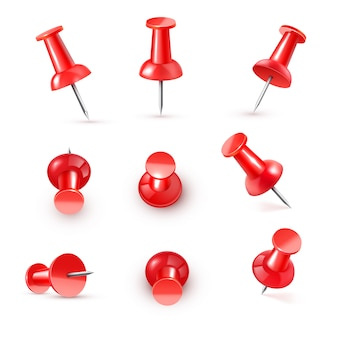 Pino de pressão vermelho brilhante plástico realista