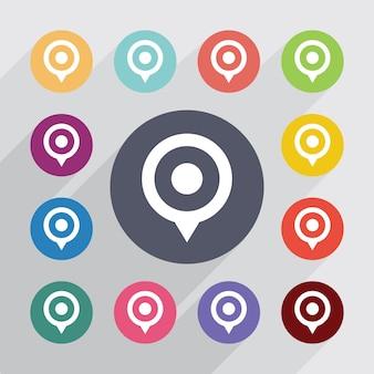 Pino do mapa, conjunto de ícones planos. botões coloridos redondos. vetor