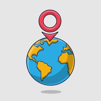 Pino e terra de localização