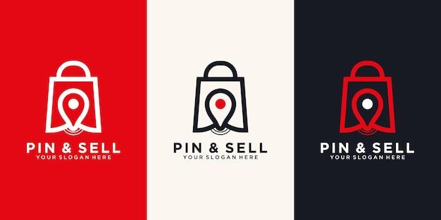 Pino e venda modelo de design de logotipo de ícone.