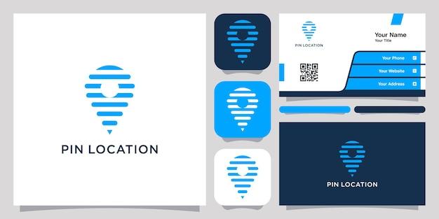 Pino local logotipo ícone símbolo modelo logotipo e cartão de visita