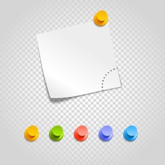 Pinos de cor e clipe de papel isolados em transparente. conjunto de vetores de pinos diferentes