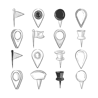 Pinos de navegação de doodle desenhado mão conjunto isolados