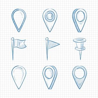 Pinos de navegação de doodle desenhado mão na página do caderno