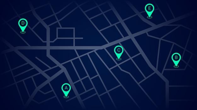 Pinos de navegação verde no mapa de ruas da cidade