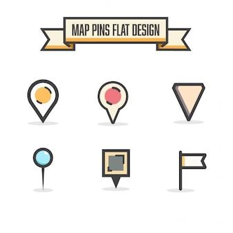 Pinos dos mapas de design plana