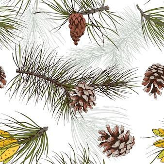 Pinos e ramos de pinheiros coloridos floresta madeira padrão sem costura ilustração vetorial