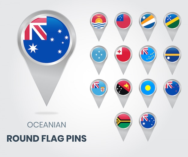 Pinos redondos da bandeira de oceania, ponteiros do mapa