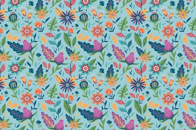 Pintado com belo padrão floral exótico