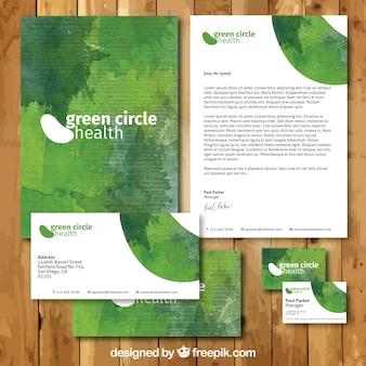 Pintados à mão artigos de papelaria verde