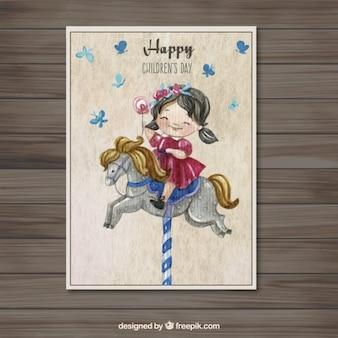Pintados à mão cartão de dia das crianças felizes