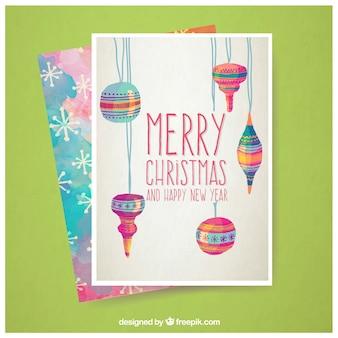 Pintados à mão cartão de natal baubles