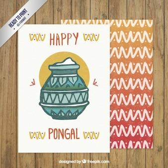 Pintados à mão cartão feliz do dia pongal
