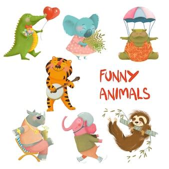 Pintados à mão conjunto de animais engraçados dos desenhos animados