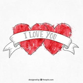Pintados à mão corações românticos