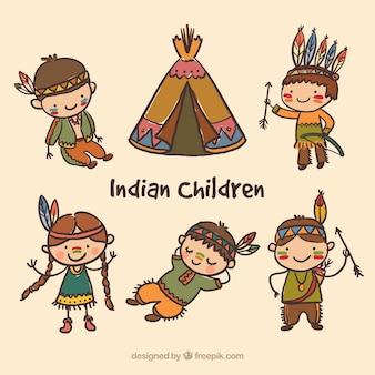 Pintados à mão crianças índias embalar