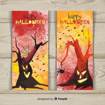 Pintados à mão de banners de halloween em estilo aquarela