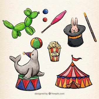 Pintados à mão elementos de circo colection