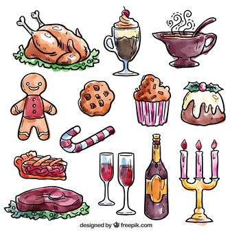 Pintados à mão elementos de jantar de natal