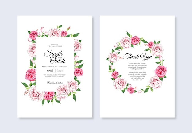 Pintados à mão em aquarela floral para modelo de convite de cartão de casamento