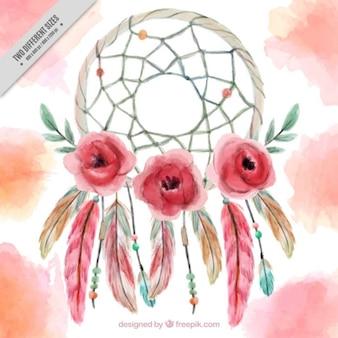 Pintados à mão fundo dreamcatcher com flores e penas