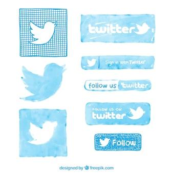 Pintados à mão logos do twitter