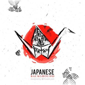 Pintados à mão origami fundo japonês