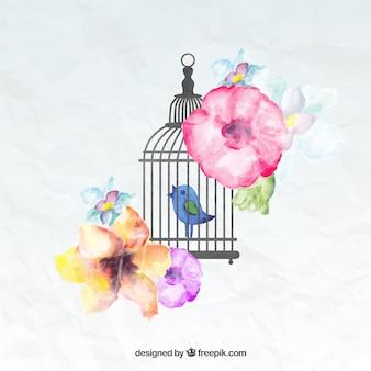 Pintados à mão pássaro em uma gaiola
