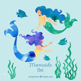 Pintados à mão sereias com peixes e algas