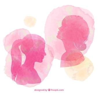 Pintados à mão silhuetas das mulheres