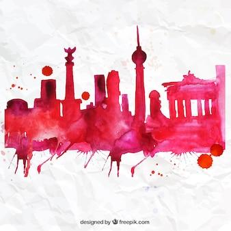 Pintados à mão skyline de berlim