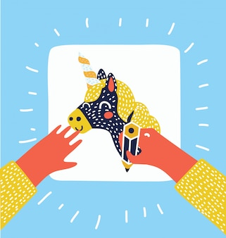 Pintando e desenhando banners de crianças. processo criativo. ilustração de tampo de mesa, mãos de crianças, lápis, papel com desenho à mão, pincel, tintas