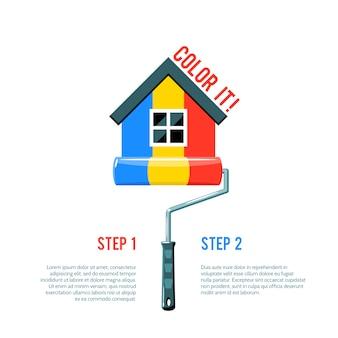 Pintar casa ícone