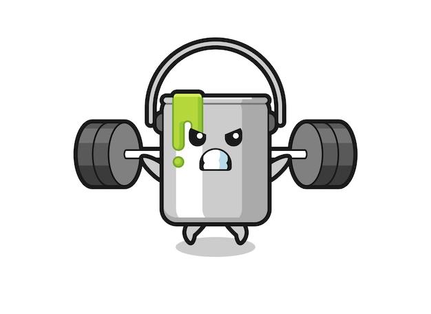 Pintar desenho de mascote de lata com uma barra, design de estilo fofo para camiseta, adesivo, elemento de logotipo