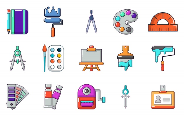 Pintar o conjunto de ícones de ferramentas. conjunto de desenhos animados de ícones de vetor de ferramentas de pintura conjunto isolado
