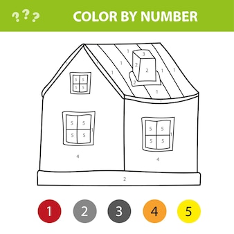 Pinte a casa de campo dos desenhos animados por números. jogo educativo fácil para crianças.