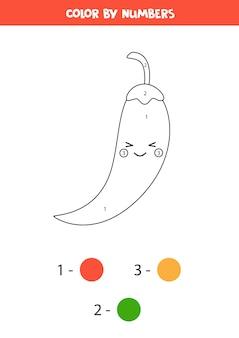 Pinte a pimenta kawaii por números. jogo educativo de matemática para crianças. página para colorir para crianças em idade pré-escolar.